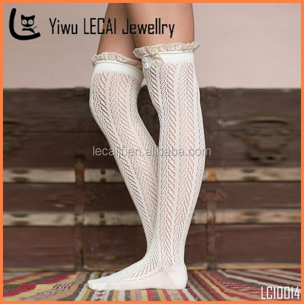 2e5db8b3890 6 Colors Winter Warmers Stocking Top Over The Knee High Wool Lace Knit Socks