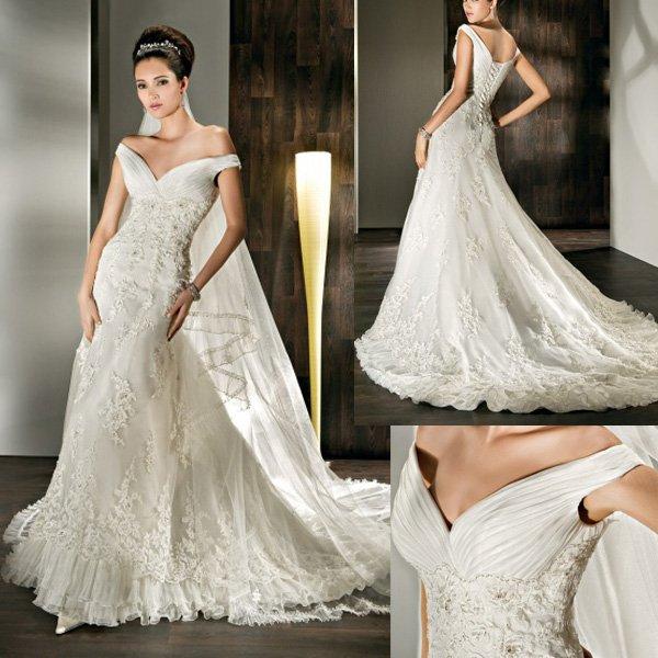 Vintage Lace Wedding Dresses: New Style WD121 Appliques Court Train Off The Shoulder