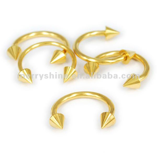 14G Gold Plated spike Beads Cartilage Tragus Horse Shoe Ring ear piercing FR04
