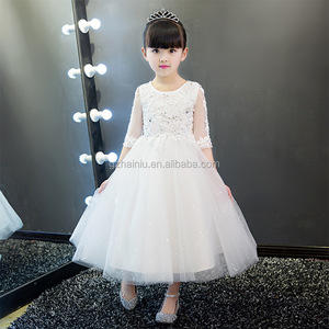 The little girl's wedding dress children Summer white piano performance dress