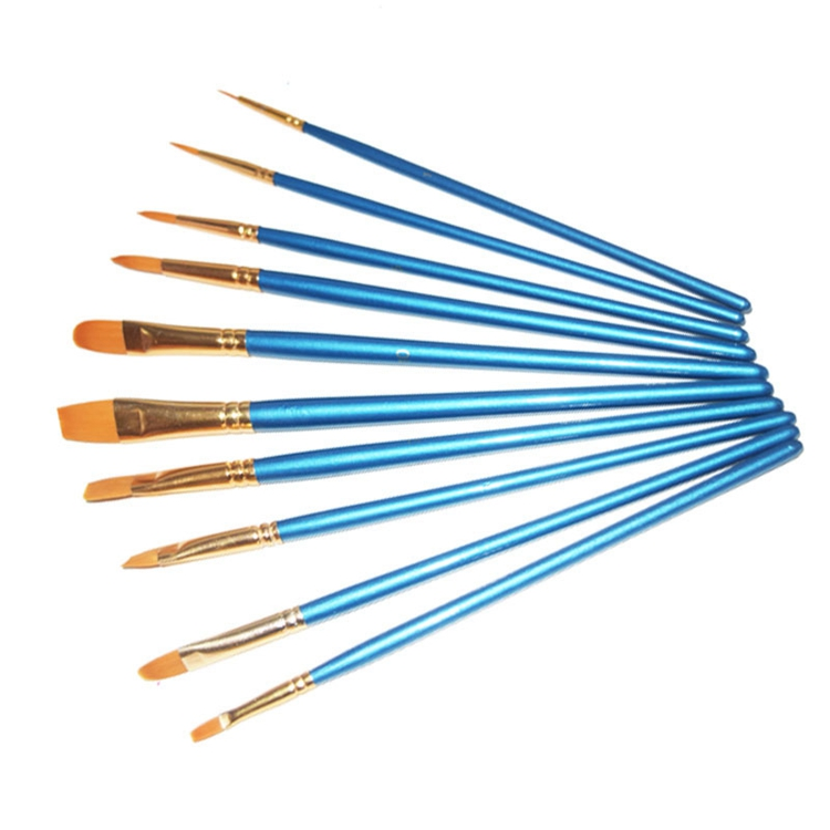 10 pcs Multi-Function Paint Brush with Gold Nylon Hair and Short Blue Handle for Artists Kids Art Supply