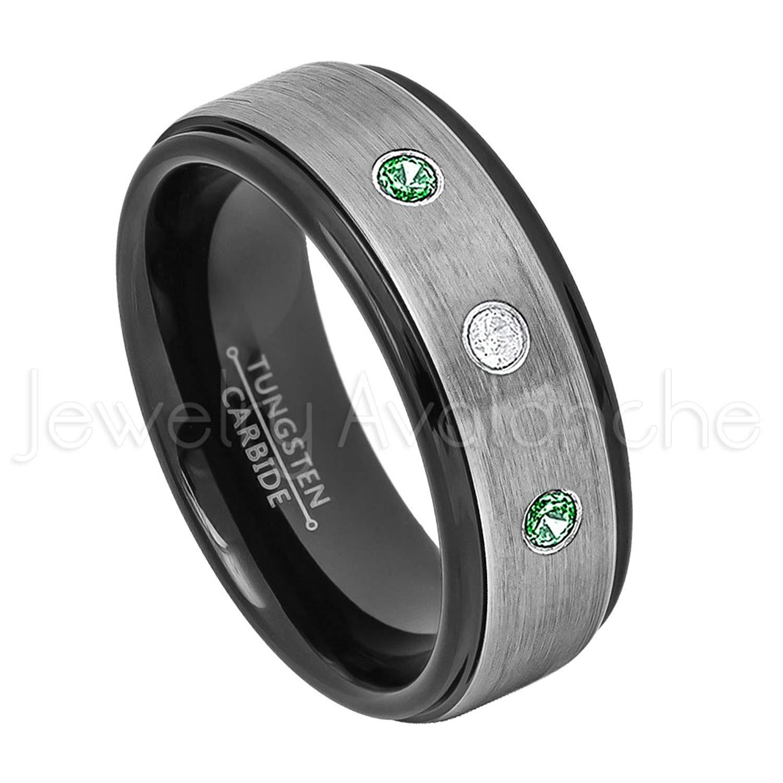 0.21ctw Diamond & Emerald Tungsten 3-stone Ring - May Birthstone Ring - 8mm Brushed Finish Black IP Comfort Fit 2-toneTungsten Carbide Ring Tungsten Tungsten Wedding Band