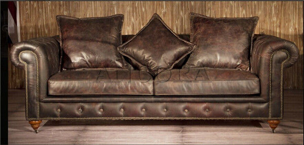 Button Tufted Upholstered Leather Sofa Set/retro Vintage Style Genuine ...