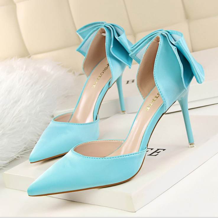 X61988A Women High Heel Shoes Back Bowknot Bow Wedding Shoes
