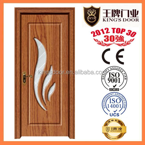Pvc Finish Wash Room Door Design Wooden Glass Door