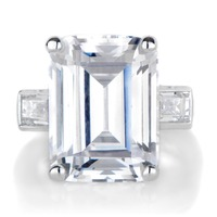 Grace's 14K Emerald Cut CZ Engagement 925 Sterling Silver Ring For Women