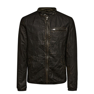 Zip closure band collar black short men biker leather jacket with zipped chest pocket