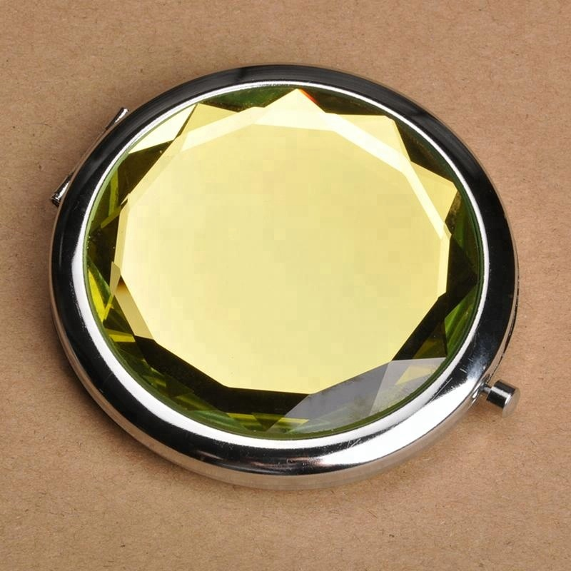 Wholesale Shiny Small Crystal Metal Cosmetic Compact Mirror,crystal Vanity Portable Pocket Cosmetic Mirror
