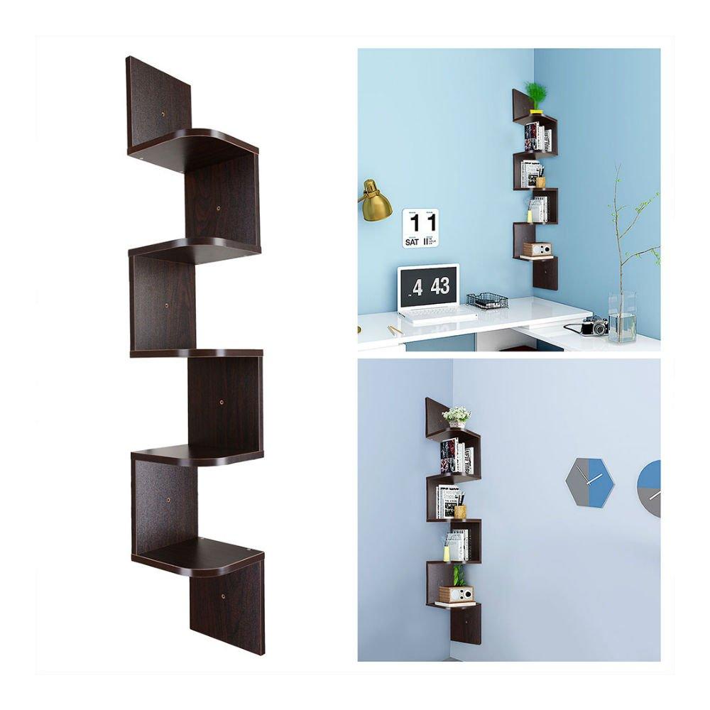 HOT! Tiers Wall Corner Wood Shelf Zig Zag Floating Display Rack Home Furniture (5 tier, walnut finish)