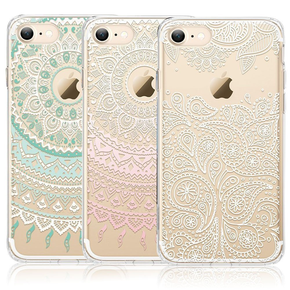 official photos 006e6 e48e5 iPhone 7 Case, iPhone 8 Case, CarterLily [3-Pack] Clear Colorful Mandala  Henna White Flower Cute Art Pattern TPU Rubber Flexible Slim Skin Soft ...