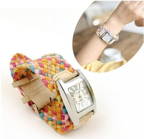 real photo korea belt rope braid women dress wristwatches 7 colors ladies knit bracelet woven watch rope cracked leather band
