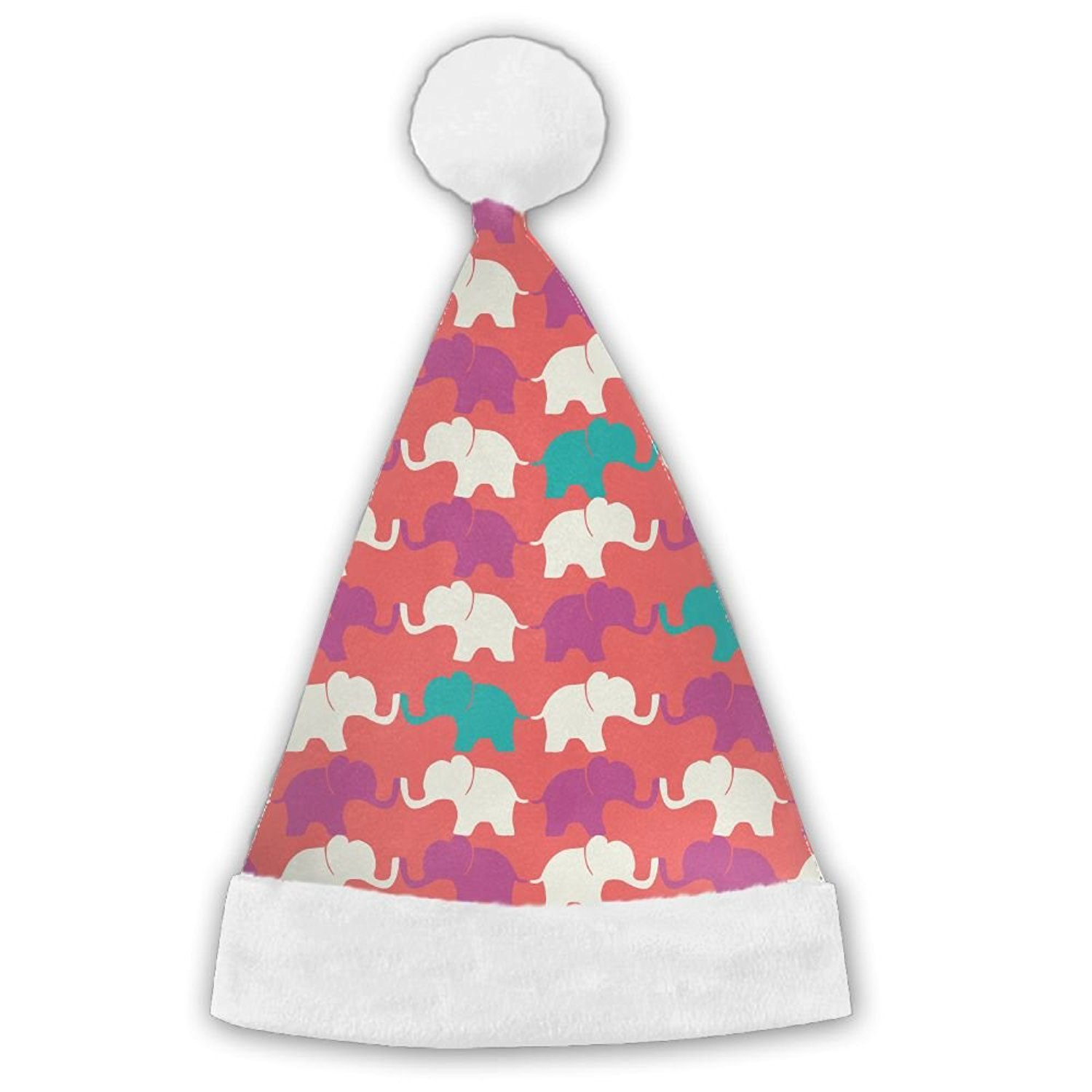 faa1abc2d14 Get Quotations · ChengGo Colorful Elephants Personalization Santa Hat r n  Shrinkage Features For Teens Elf Christmas