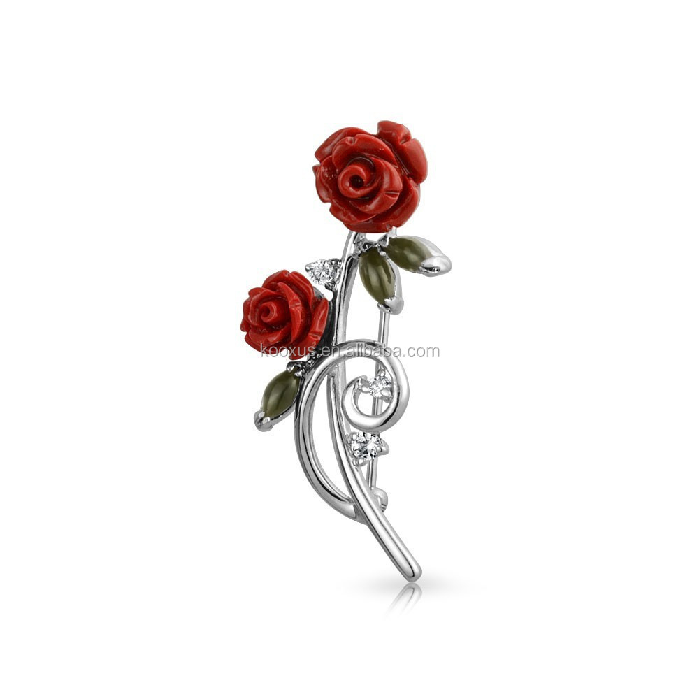 China flower power pin rose brooch