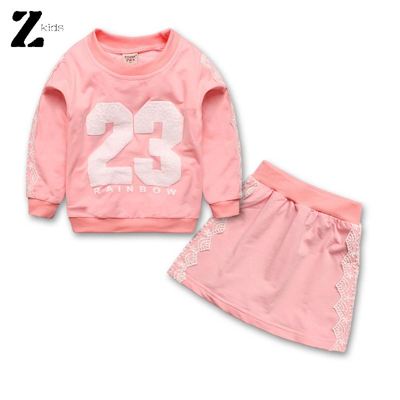 New 2015 Girls Clothes Autumn Cotton Long Sleeve T Shirt And Lace Skirt Casual Kids Children Clothing Sets Brand Hot Sale