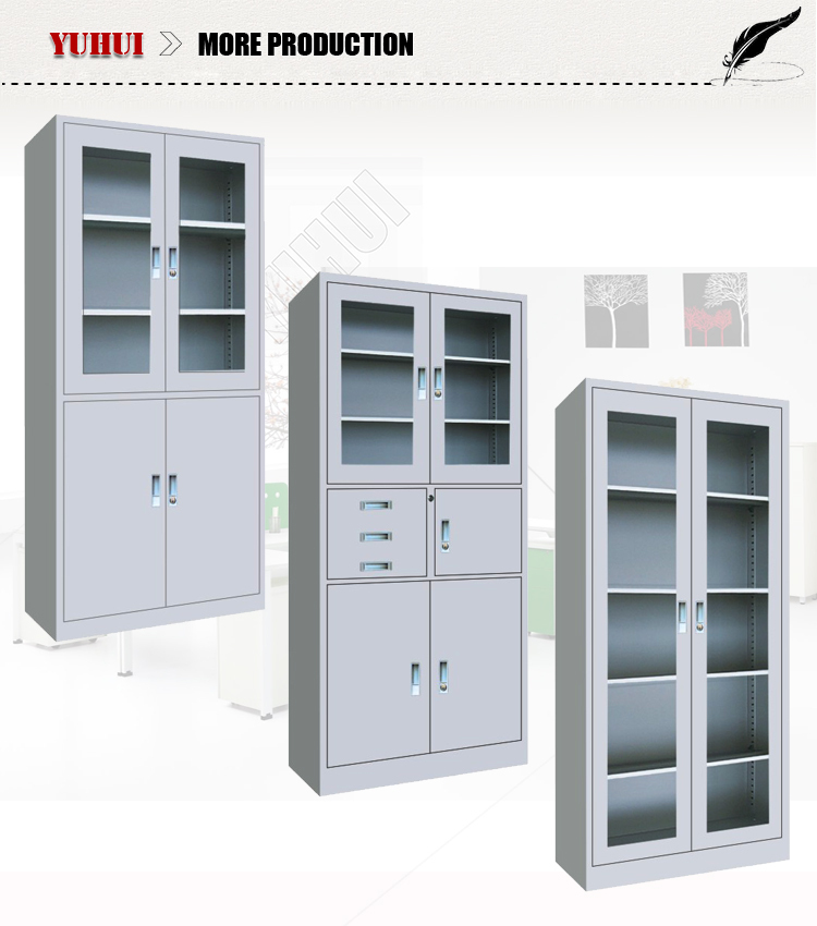factory direct sales glass door file cabinet / metal 2 glass door 4 door metal filing cabinet