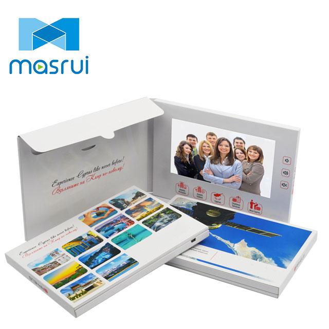 Hohe qualität mode-design 7 zoll LCD tft bildschirm präsentation video broschüre werbung gruß karte mit tasche