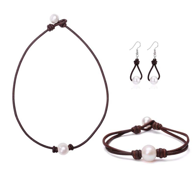 Пресноводный Жемчуг Культивированный комплект ювелирных изделий из натуральной кожи ожерелье