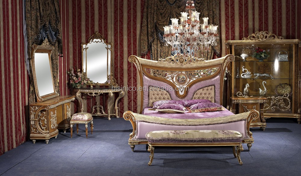 Bisini New Classical Style Bedroom Setsolid Wood Hand Carved Bed