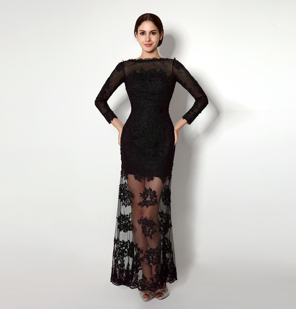 Sexy Low Back Party Dresses Black See Through Lace Cocktail Dresses Long Sleeve 2015 New Design Robe De Cocktail Long CPCD43