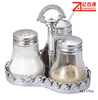 3pcs glass salt & pepper cruet with stainless steel stand condiment Jar set