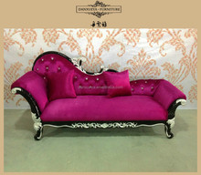 French rococo elegant antique curved fabric chaise lounge in living room
