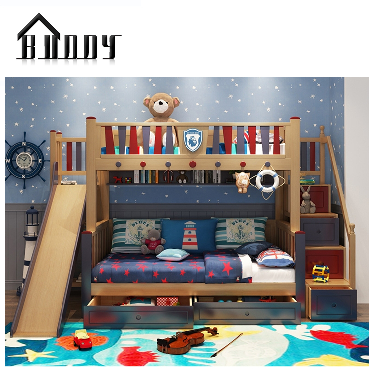 Kids Children Furniture Children Bed With Stair And Pull Out Bed