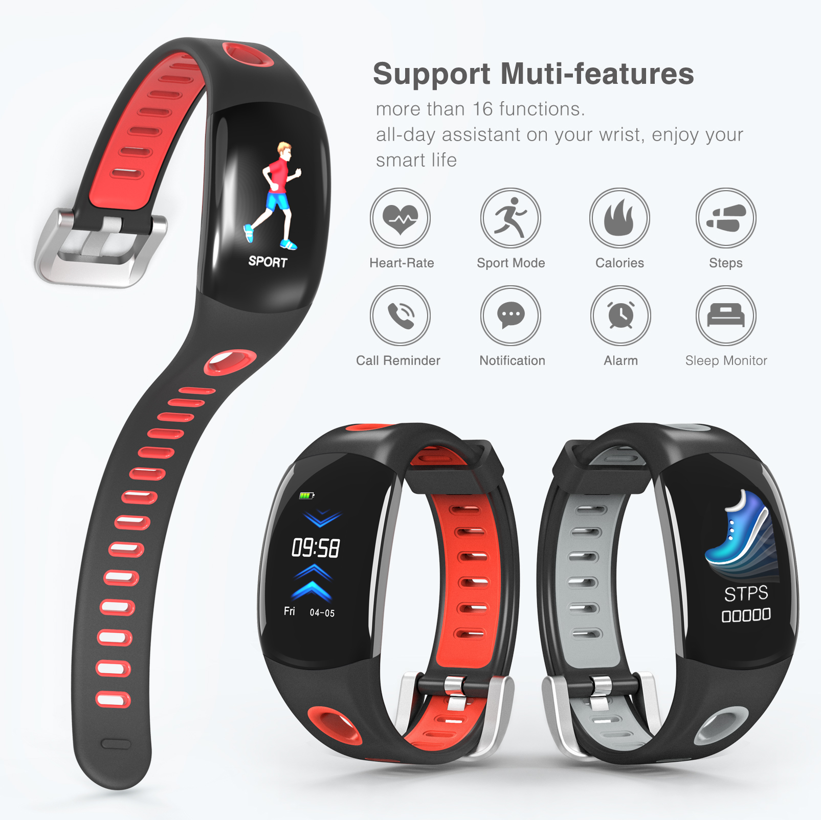 Multifunctional Fitness Waterproof Sport smart watch With Continuous Heart Rate Monitoring