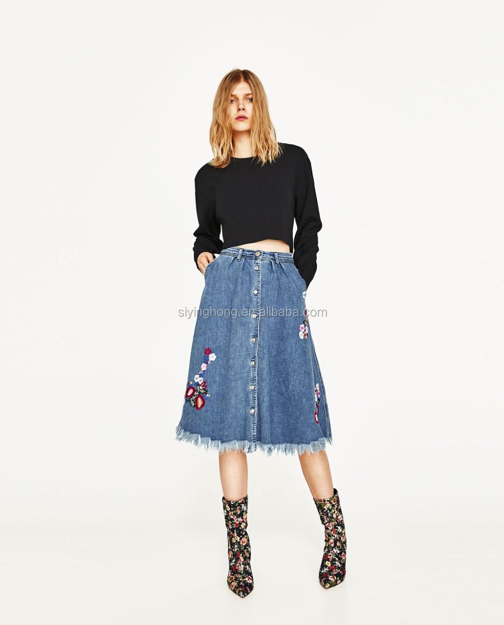 9eb5d3eceae Дамы с высокой талией длинные джинсовые юбки кружево Контрастность Denim  Midi A-Line Skirt