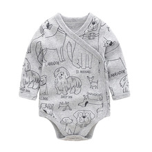 OEM Service 100% Organic Cotton Plain Baby Long Sleeve Romper Baby Sleepsuit Rompers