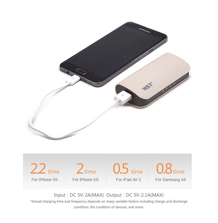 500 times cycle life Li-ion battery rechargeable mini portable charger power bank 5200 mah