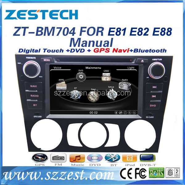 ZESTECH cheapest OEM dvd player for BMW E90 dvd palyer gps for BMW E81 E82 E88 manual with gps bluetooth TV tuner radio