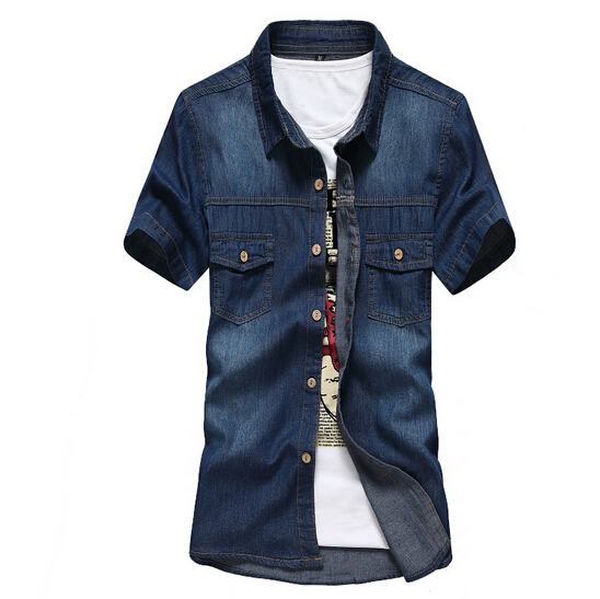 Men Denim Shirts Short Sleeve Brand Summer Casual Cotton Slim 2015 New Jeans Men Clothing Fashion camisa masculina ZHY1642