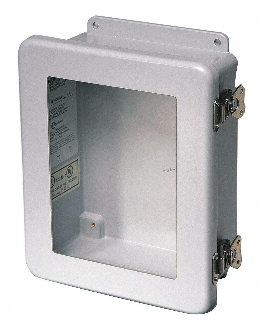 "14""H x 12""W x 6""D Non-Metallic Enclosure, Light Gray, Knockouts: No, Twist Latch Closure Method"
