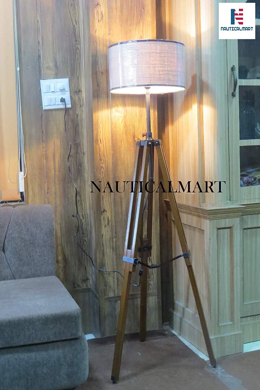 Designer Premium Quality Wooden Tripod Floor Lamp Lighting Stand Nautical Floor Lamp Home Decor