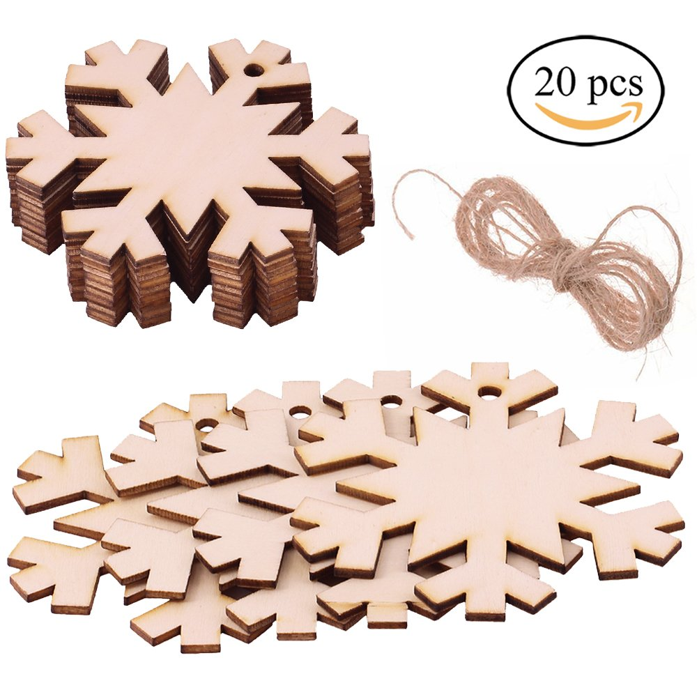 Supla 20 Pcs Wood Tag Unfinished Wooden Snowflake Cutouts for Kids Crafts Christmas Tree Ornaments Hanging
