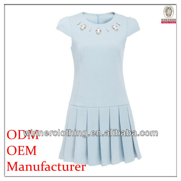 2015 New model lose fit pleated beaded 2014 short sleeve women european style resses with short sleeves