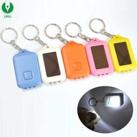 High Quality Custom Color Brand Logo Rechargeable Solar Led Key Chain