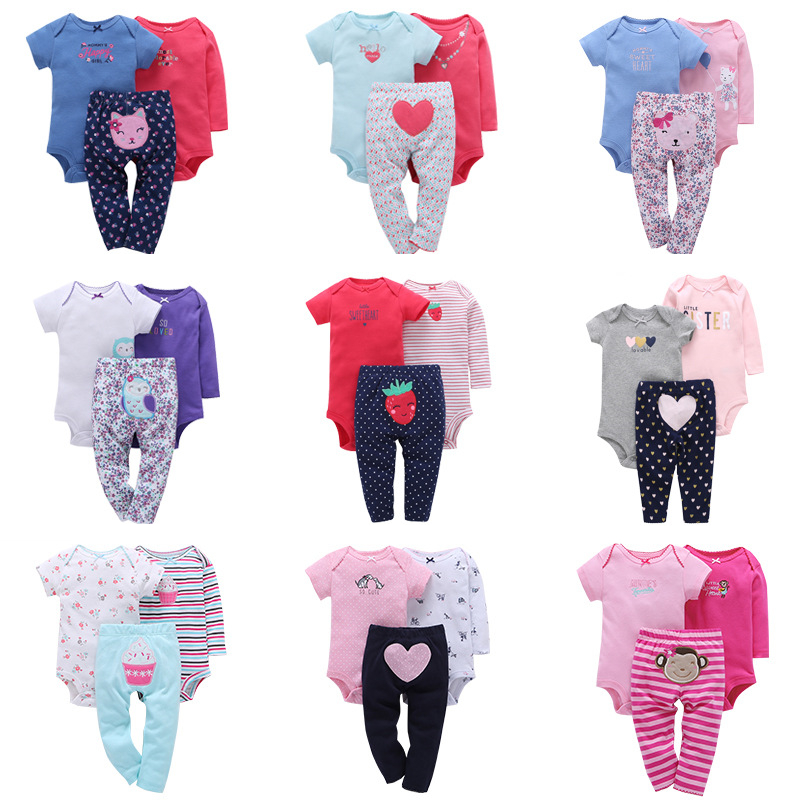 3Pcs/<strong>Set</strong> Wholesale Spring Autumn Infant Toddler Suits Fashion <strong>Baby</strong> Romper Cotton Print Animal <strong>Baby</strong> <strong>Set</strong> <strong>New</strong> Born Clothes