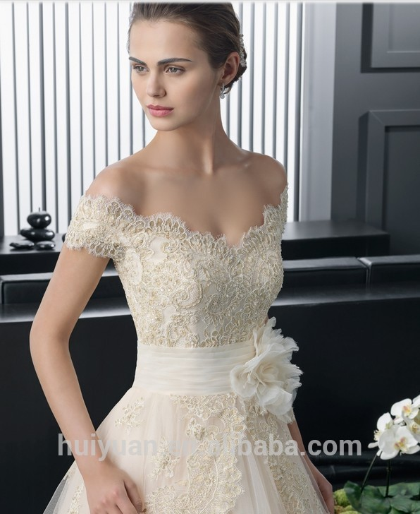 Elegantes V Cuello Mangas Blancas Cap Vestido De Novia De Encaje Vestido De Fiesta