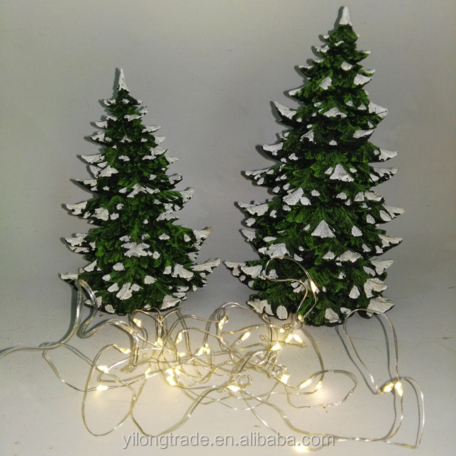 resin decorations tree model christmas gift table top decor christmas village polyresin led tree - Where To Buy Cheap Christmas Decorations