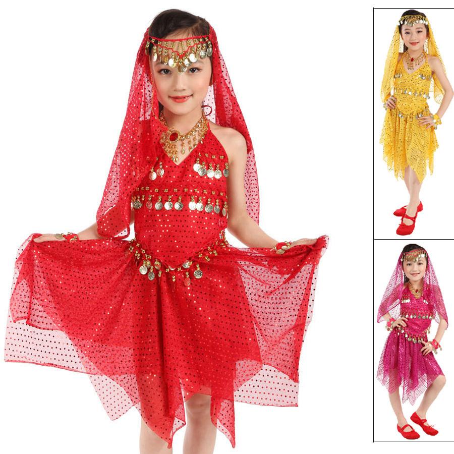 2015 Girls Indian Belly Dance Costumes Top&Skirt&Bracelet ...