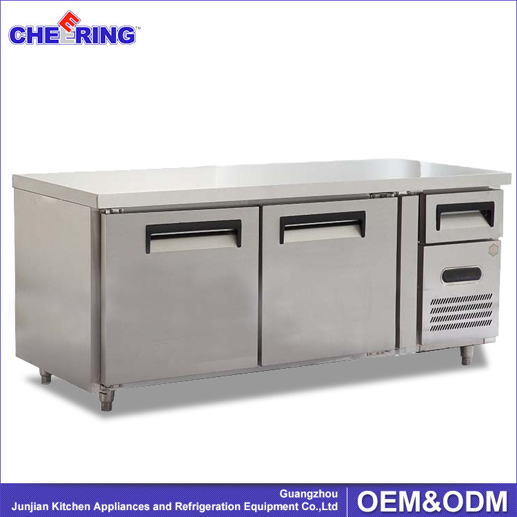 commercial stainless steel under counter refrigerator counter top fridge with caster