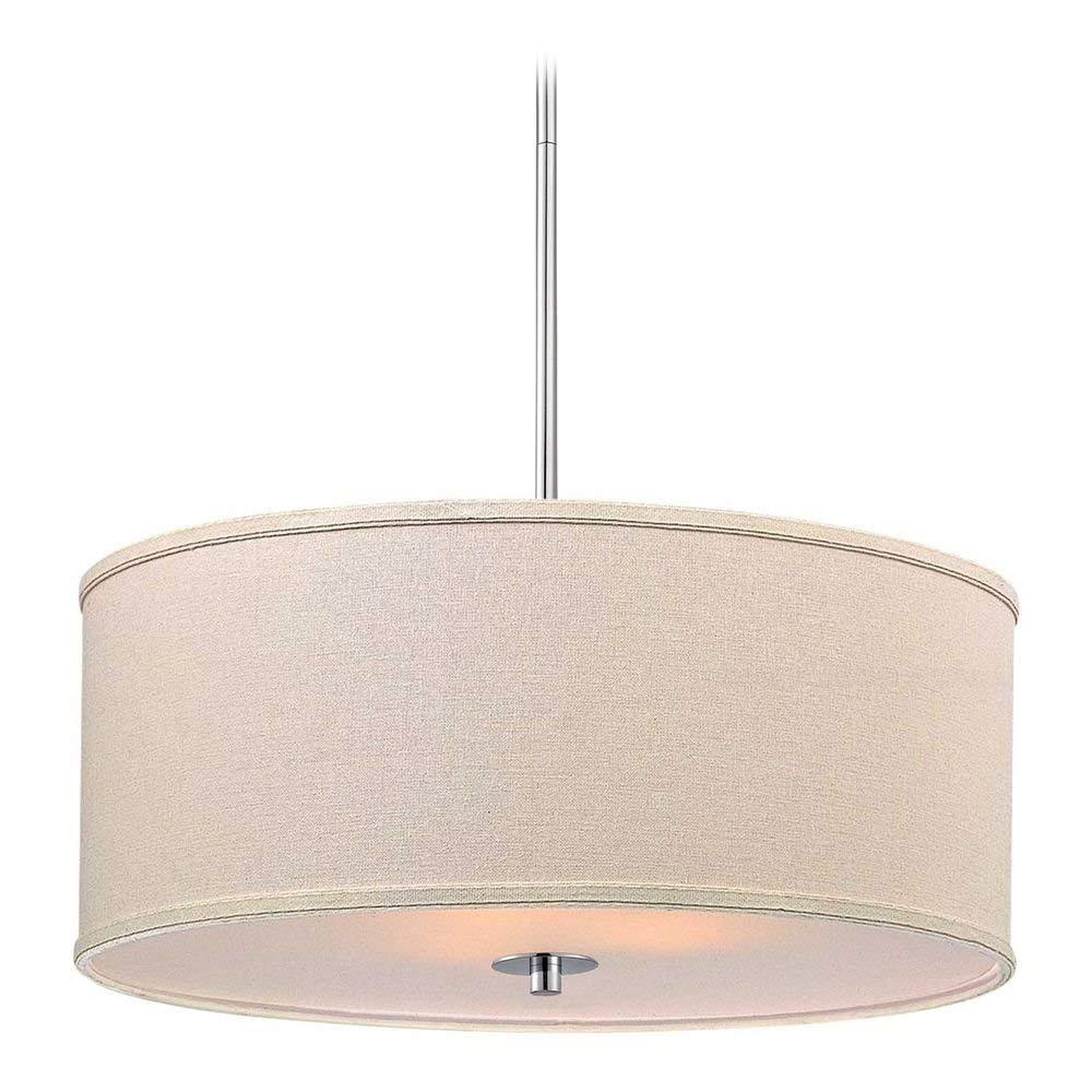 Modern Chrome Pendant Light with Cream Drum Shade