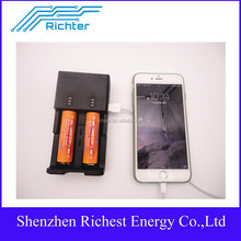 Richter brand best quality for AAA AA 18650 26650 16340 li ion battery portable phone charger micro usb charger