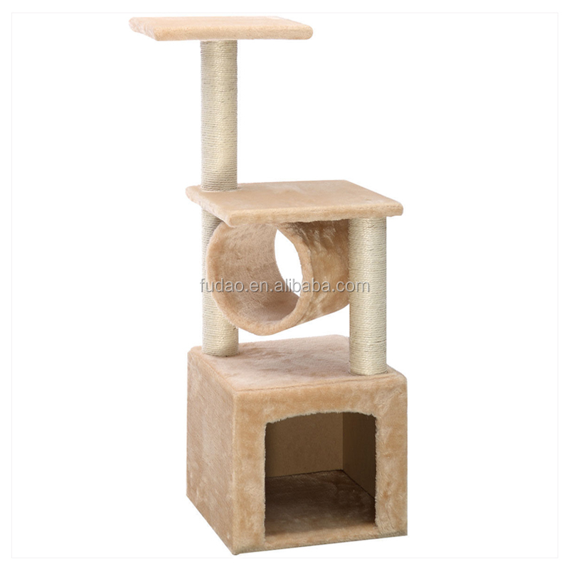 Deluxe Cat Tree Condo Furniture Play Toy Scratch Post Kitten Pet House Beige