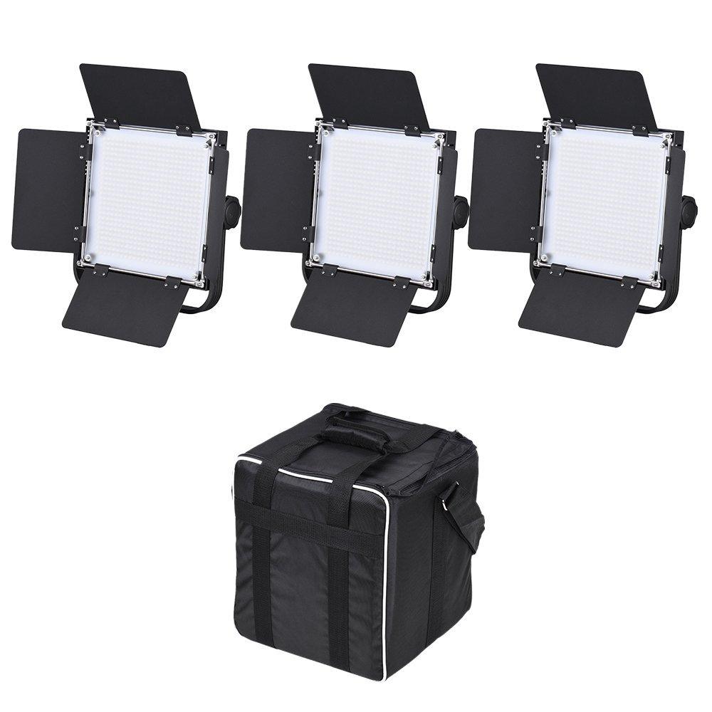 Andoer LED-600A 3pcs LED Video Light Panel Kit 576pcs LED Beads CRI90+ 5600K/3200K With Barndoor / Filters / Storage Bag