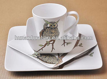 Hot sale ceramic porcelain dinnerware set with cute night owl pattern in square shape & Hot Sale Ceramic Porcelain Dinnerware Set With Cute Night Owl ...