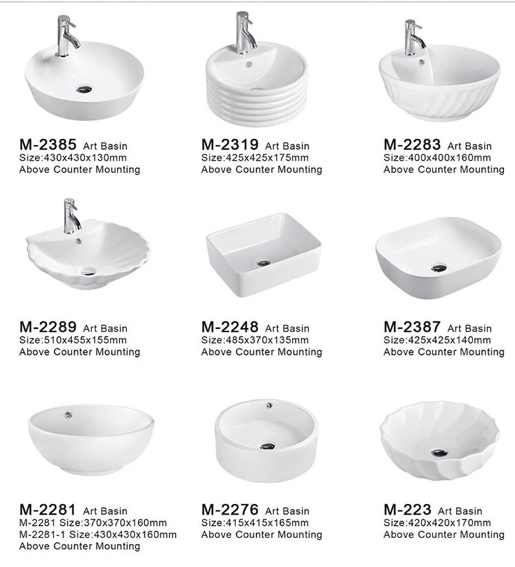 Industrial ceramic movable counter wash basin designs