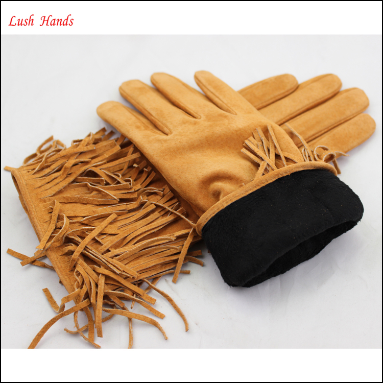 women high fashion custom made suede leather glove tassel cuff Christmas cuff