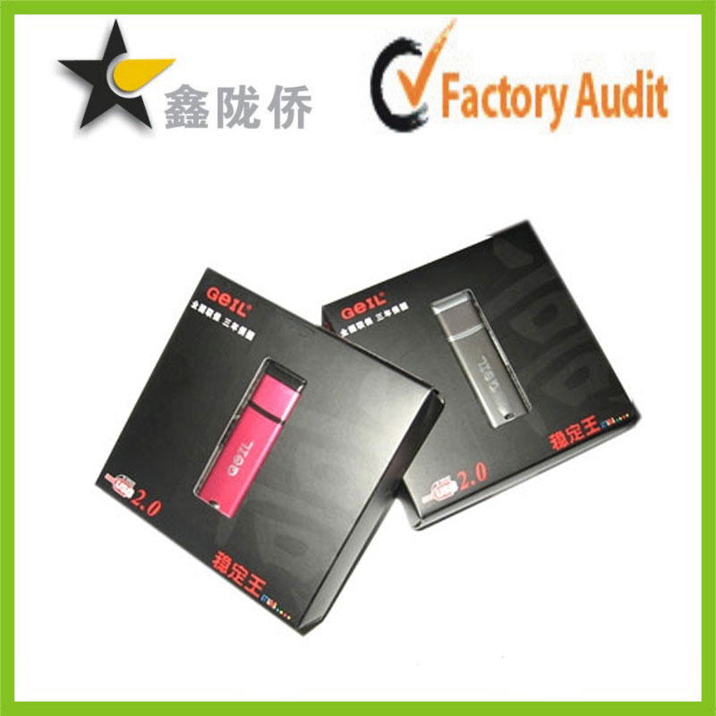 Customized CMYK printing USB charger flat folding package box with pvc window